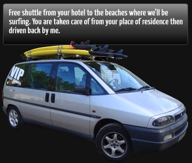 free shuttle from your hotel to the beach biarritz surf